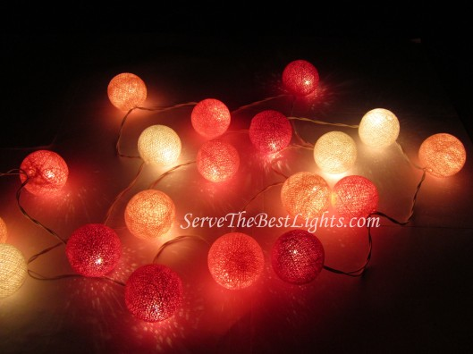 Pink Cotton Ball Wedding Lights 004